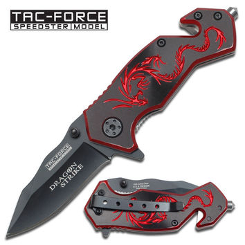 """"""" Dragon Strike """" Rescue Spring Assisted Knife - 3 1/2 Inch Closed"""
