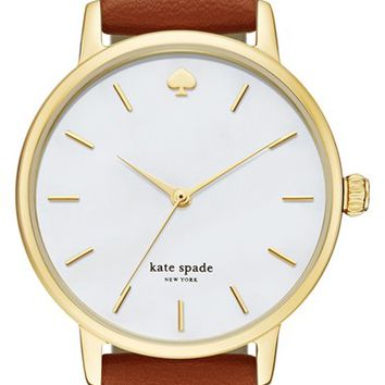kate spade new york 'metro' round leather strap watch, 34mm | Nordstrom