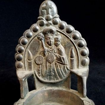 Brass Madonna & Child Oil Lamp from Catholic India