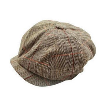 Tweed Octagonal Irish Men Flat Caps Hat Newsboy Newsy Cap