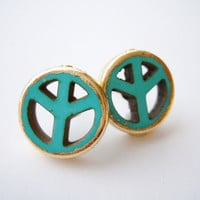 Peace -Turquoise Howlite Post Earrings - Peace Symbol - Gold Gilded -Hippie Jewelry