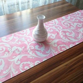 New!! Pink Wedding Table Runner, Modern Table Runner, Floral Table Cover, Satin Tablecloth, Print Table Runner