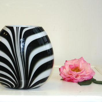 glass vases hand blow glass vase made in Poland Makora black white weddings handmade glass vases