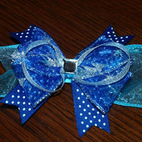 sheer blue and polka dot hair bow by mylittlebows on Etsy