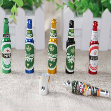 Mini Beer Herb Tobacco Pipes Gifts Grinder Smoke 6 colors Pipes