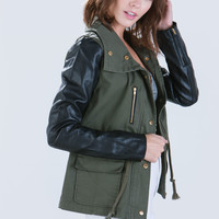 Military Cargo Mixed Media Jacket