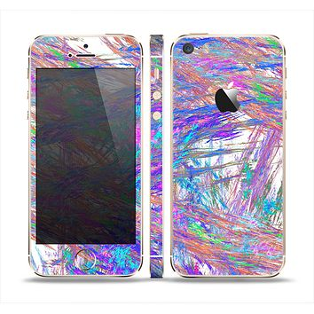 The Abstract Colorful Oil Paint Splatter Strokes Skin Set for the Apple iPhone 5s