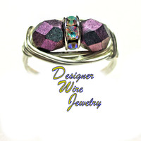 DWJ0402 Beautiful Czech Art Glass Faceted Orchid Aqua Duet Silver Plated Wire Wrap Ring