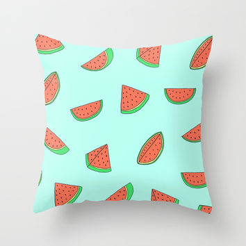 Watermelon Print Throw Pillow by Saif Chowdhury