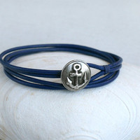 Anchor Leather Bracelet (many colors to choose)