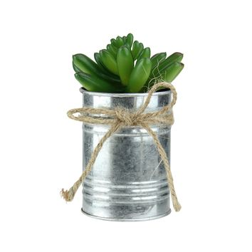 """5"""" Green Mini Artificial X Pachyveria Succulent in Tin Planter with Twine Bow"""