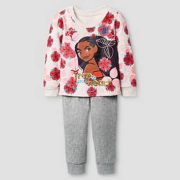 Toddler Girls' Moana Top And Bottom Set - Light Off White : Target