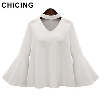 CHICING Women Ruffled Blouses High Neck Bell Flare Sleeve 2016 Summer Fashion Ladies Chiffon Shirt TopsBlusas Femininas B1604032