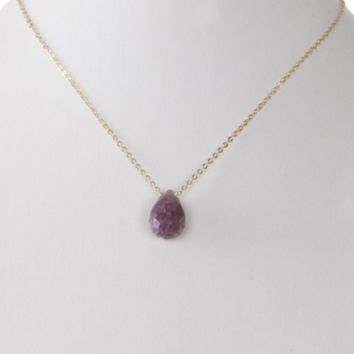 Teardrop Glass Stone Pendant Necklace (Multiple Colors)