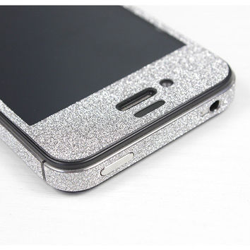 Nice Silver Cool Shiny Rhinestone Full Body Cover Skin Sticker Shield For iPhone 4S/5
