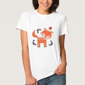 Orange Fox In Santa Hat Cute Whimsical Christmas T Shirt