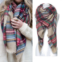 Lady Women Large Tartan Scarf Wrap Shawl Neck Stole Warm Plaid Checked Pashmina