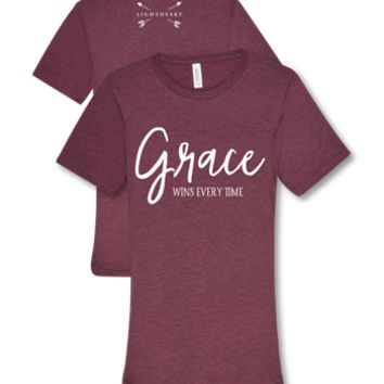 Southern Couture Lightheart Grace Wins Every Time Christian Triblend Front Print T-Shirt