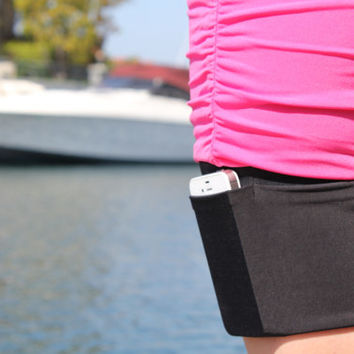 A Garter Purse that holds cellphones, keys, cards, and other evening essential's discreetly and securely.