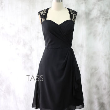 Cocktail Dress, Black Chiffon Bridesmaid dress, Wedding dress, Short Chiffon dress, Lace Straps Party dress, Formal Dress, Short Prom dress