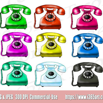 Retro Telephone Clipart, Telephone Clip Art, Phone Clipart, Phone Clip Art, Scrapbooking, Digital Graphic, Clipart Design, Hand Drawn
