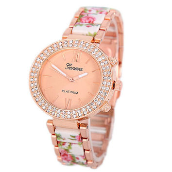 Womens Steel Strap Watch Girls Floral Sports Casual Watches Best Christmas Gift