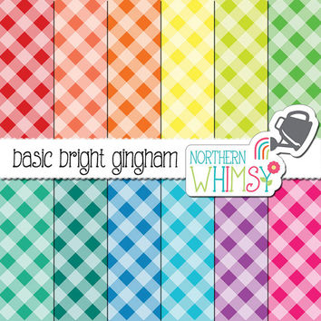Gingham Digital Paper - diagonal gingham patterns in red, orange, yellow, green, blue, purple & hot pink - scrapbook paper - commercial use
