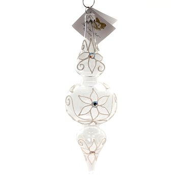 Golden Bell Collection Clear Drop With Flowers Glass Ornament