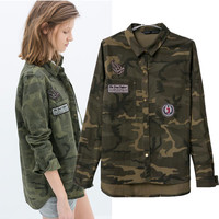 Long Sleeve Shirt Camouflage Tops Slim Casual Jacket [9138771271]