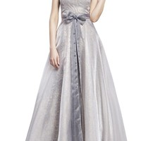 Women's Elegant Strapless Bowknot Party Long Dress Ball Gown