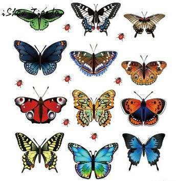 12 Pcs/Lot PVC Butterfly Decals 3D Wall Stickers Home Decor Poster For Window Fridge Kids Rooms Decal Decor Adesivo De Parede
