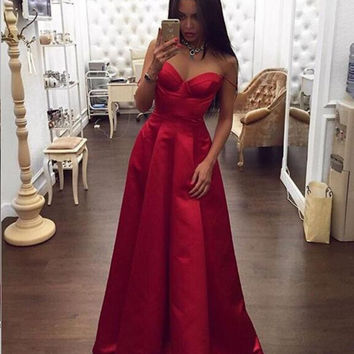 Spaghetti Straps Sweetheart Red Prom Dresses,Prom Dress