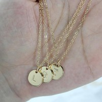 Pendant Necklace 26 Letters Initial Necklace Gold Color Disc Necklace Alphabet Women Friends Family Letter necklace