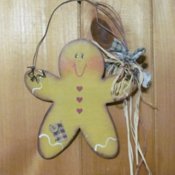 Gingerbread Man Decor Prim Wall Hanging Rusty Wire  Rustic signs Primitive Christmas Decor Gingerbread trim