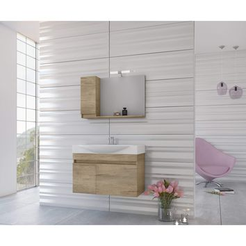 "DP Wall Bath Vanity Cabinet Set 33.5"" Single Sink W/ Laminated PL Wood Finish"