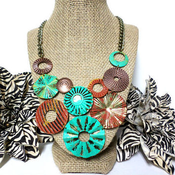 Boho Antique gold, copper and turquosie hand painted round cut out hammered disc statement bib necklace, gift