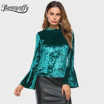Women's Long Flared Sleeve Velvet Blouse