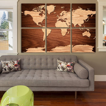 Canvas Art Print WORLD MAP on Natural Wood - 6 Panel Vintage World Map Canvas Art Print - Retro World Map