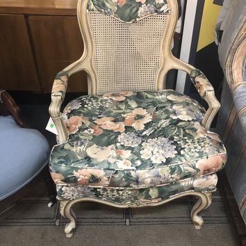 Chair, Vintage Queen Anne Style Floral Pattern Cane Back, Wide Seat