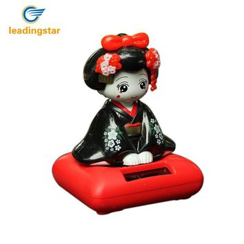 LeadingStar Solar Energy Powered Bobblehead Toy Figure Nohohon, Japanese Kimono Maiko Geisha Car Home Decoration Articles