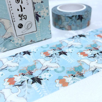 Japanese  cranes washi tape 10M white bird thousand cranes masking tape flying bird sticker tape bird planner scrapbook gift bird decor