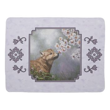 Wolf Pup and Flowers Baby Blankets