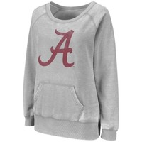 Alabama Crimson Tide Ladies Shaka Wideneck Burnout Hoodie - Ash