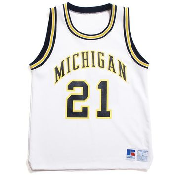 University of Michigan #21 Ray Jackson Russell Athletic Basketball Jersey White (Large)