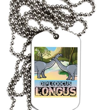 Diplodocus Longus - With Name Adult Dog Tag Chain Necklace by TooLoud