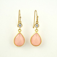 Pink Chalcedony Dangle Earrings