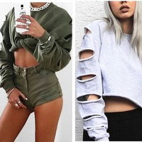 Fashion Sexy Casual Irregular Ripped Hollow Long Sleeve Round Neck Sweater Crop Top