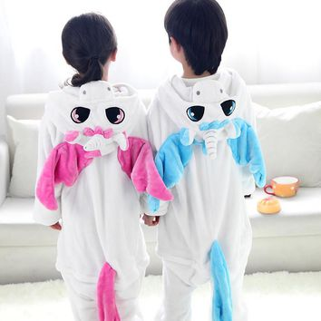 2017 Baby Boys Girls Kigurumi pajama Unicorn Cosplay costume Flannel Stitch Animal Pajama sets Onesuits Children Winter Sleepwear