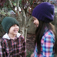 Hand Knit Simply Textured Beanie Hat Sizes Women, Men, Children (10+) in a Variety of Colors Also Available in Toddler and Young Child Sizes