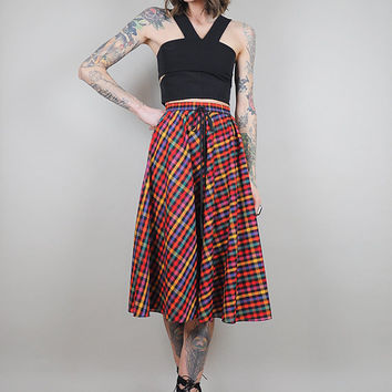 gingham vtg 70's RAINBOW plaid high waist full CIRCLE SKIRT 80's bow tie • extra small / xs